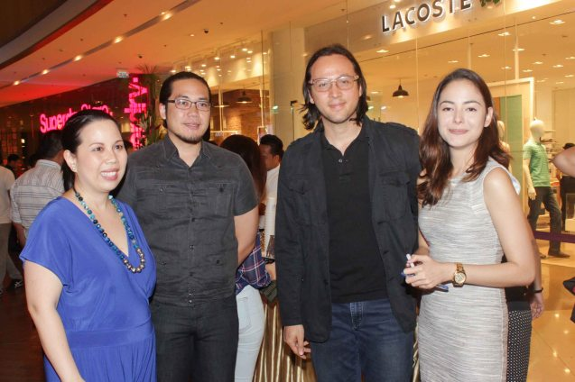 from left: Asia Society Phil Executive Dir. Suyin Liu Lee, Pete Dela Fuente, Filmmaker Lino S. Cayetano and Asia Society Phil. Prog. Coordinator Jenny Rocket. ASIA ON SCREEN 2015 film fest will run at the Shang Cineplex, Shangri-La Plaza Mall from May 8-12, 2015. Photo by Jude Bautista