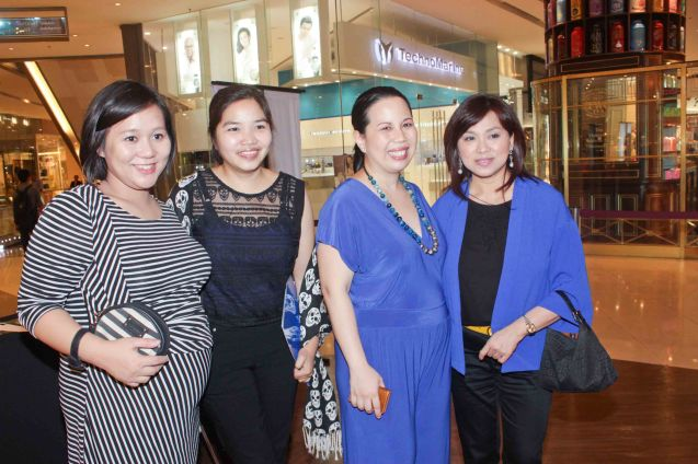 from right: Shang Rila Plaza Mktg. Div. Head Marline Dualan, Asia Society Philippines Executive Dir. Suyin Liu Lee, Shang Plaza Mktg officers Mimi Tecson and Nicole Villamor. ASIA ON SCREEN 2015 film fest will run at the Shang Cineplex, Shangri-La Plaza Mall from May 8-12, 2015. Photo by Jude Bautista