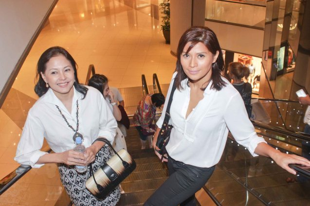 from left: Bing Pimentel and Mylene Dizon at the East Atrium of Shang Plaza Mall. ASIA ON SCREEN 2015 film fest will run at the Shang Cineplex, Shangri-La Plaza Mall from May 8-12, 2015. Photo by Jude Bautista