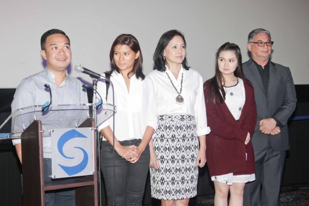 MARIQUINA cast from left: Director Milo Socueco, Mylene Dizon (Imelda), Bing Pimentel (Tess), Barbie Forteza (teen Imelda) & Ricky Davao (Romeo). ASIA ON SCREEN 2015 film fest will run at the Shang Cineplex, Shangri-La Plaza Mall from May 8-12, 2015. Photo by Jude Bautista