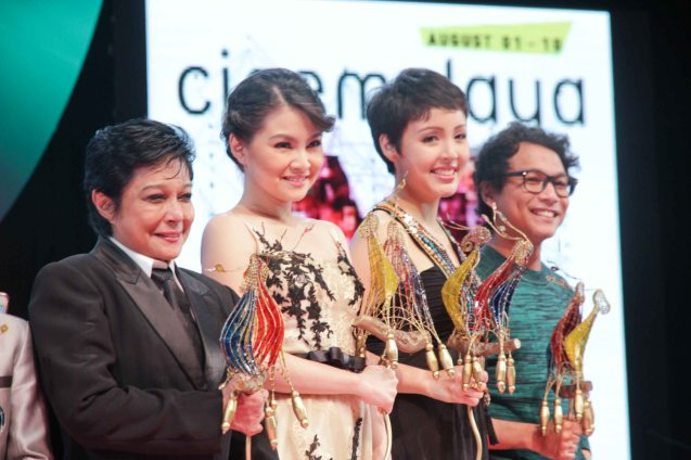 Cinemalaya awardees from left: Nora Aunor (Best Actress-HUSTISYA, Director's Showcase), Barbie Forteza (Best Supporting Actress-MARIQUINA, New Breed), Cris Villonco (Best Supporting Actress-HARI NG TONDO, Director's Showcase) and Nicco Manalo (Best Supporting Actor-THE JANITOR, Director's Showcase) The Cinemalaya X Awards was held last August 10, 2014 at the CCP. Photo by Jude Bautista