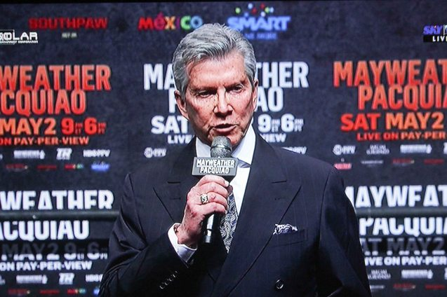 Michael Buffer introduced Pacquiao for the weigh ins while Jimmy Lennon Jr introduced Mayweather.