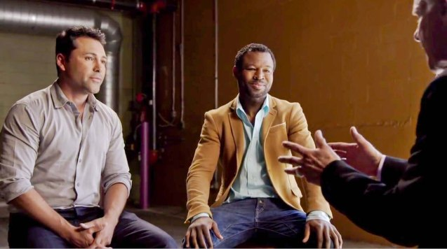 from left: Training partners and friends Oscar Dela Hoya & Shane Mosley both fought Pacquiao & Mayweather. They were interviewed by Jim Lampley for The Legends Speak.