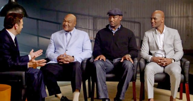 from left: Max Kellerman interviews George Foreman, Lennox Lewis and Bernard Hopkins.