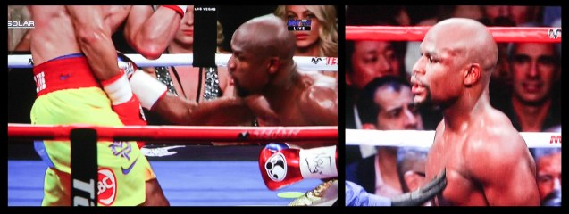 from left: Mayweather lands low blow and (right) his lip bleeds by the 7th round.
