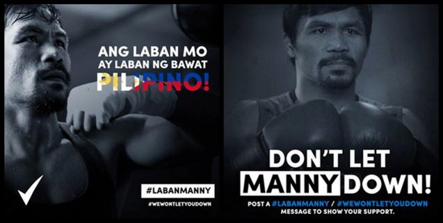 Rexona Men and the Filipino people stand with Manny Pacquiao through thick & thin. For more photos log on to: http://www.labanmanny.com/   , https://www.facebook.com/RexonaPH?fref=photo