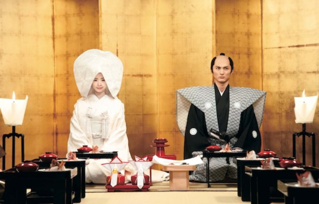 Wedding ceremony from left: Aya Ueto (Haru)  & Kengo Kora (Yasunobu Funaki). Watch this and many more films for free at the Eigai Sai Japanese Film festival running in Shang Cineplex, Shangri-La Plaza from July 9-19, 2015.