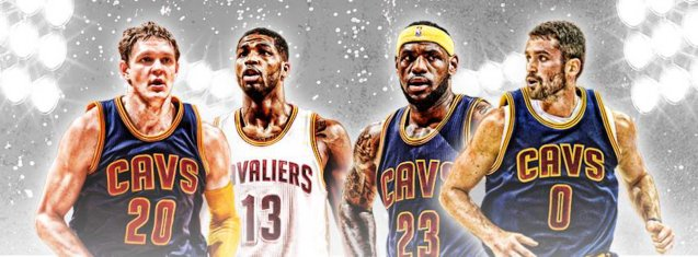 Cavs Stars from left: Timofey Mozgov, Tristan Thompson, LeBron James & Kevin Love