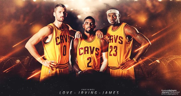 from left: Cavs All stars Kevin Love & Kyrie Irving have been lost to injury but Cleveland is still going ALL IN with LeBron James.