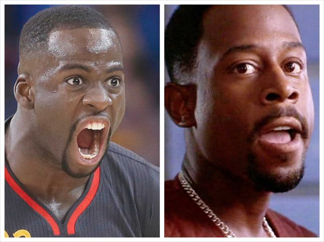 left: GSW's hyperactive Draymond Green has strong likeness to Hollywood star Martin Lawrence (right) who is alive & well no thanks to fake internet death rumors.