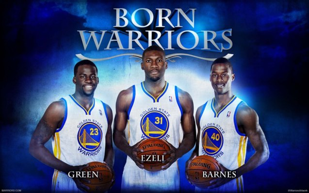GSW solid frontline from left Draymond Green, Festus Ezeli and Harrison Barnes. NOT in photo is Aussie star center Andrew Bogut.