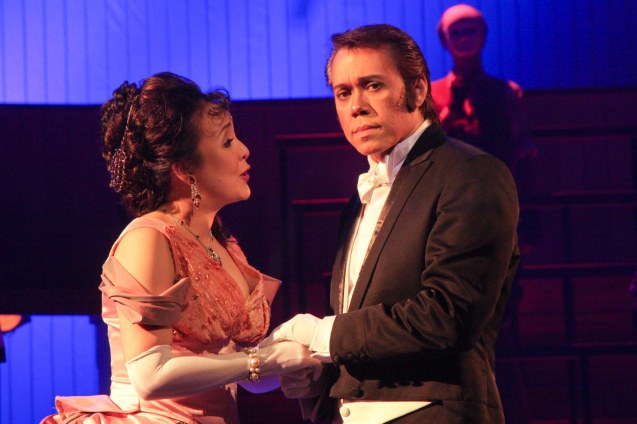"from right: Michael Williams (Dr. Jekyll/Mr.Hyde) and Cris Villonco (Emma Carew). Repertory Phil.'s ""Jekyll & Hyde"" ran from March 16-April 15, 2012. Cris Villonco is also in BITUING WALANG NINGNING at Resorts World Manila opening on June 17, 2015. Photo by Jude Bautista"