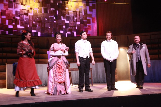 "from right: Junix Inocian (Gabriel John Utterson), Michael Williams (Dr. Jekyll/Mr.Hyde), Jett Pangan (Dr. Jekyll/Mr.Hyde), Cris Villonco (Emma Carew) and Kalila Aguilos ( Lucy Harris). Repertory Phil.'s ""Jekyll & Hyde"" ran from March 16-April 15, 2012. Photo by Jude Bautista"