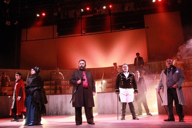 "from right: Junix Inocian (Gabriel John Utterson) , Jack Salud (Simon Stride) and Oliver Usison (General Lord Glossop /Minister) in Repertory Phil.'s ""Jekyll & Hyde"". Photo by Jude Bautista"