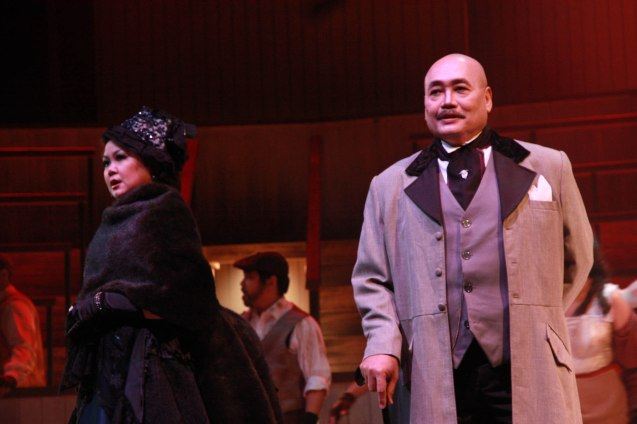"from right: Junix Inocian (Gabriel John Utterson) and Mayen Bustamante-Cadd (Lady Beaconsfield) in Repertory Phil.'s ""Jekyll & Hyde"". Photo by Jude Bautista"