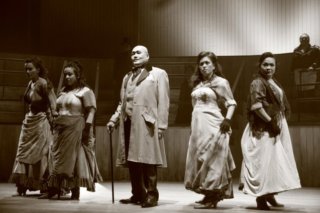 "from left: Liza Infante Robinson ( Ensemble), Teenee Chan (Ensemble), Junix Inocian (Gabriel John Utterson), Mayen Bustamante-Cadd (Lady Beaconsfield) and Natalie Everett (Ensemble) –Choreorgrapher in Repertory Phil.'s ""Jekyll & Hyde"". Photo by Jude Bautista"