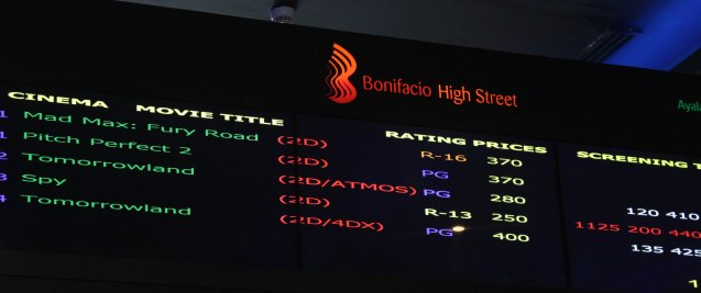 Digital screen schedule of Bonifacio High Street Cinemas