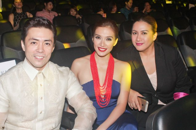 MASKARA stars from left: Lance Raymundo, Ina Feleo and Singer / actress Ana Feleo. The World Premieres Film Festival Phil features 70 films from over 35 countries along with the Filipino New Cinema competition. It is currently the most prestigious international film fest in the Philippines. Photo by Jude Bautista