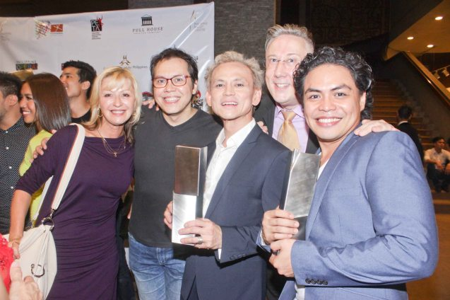 RWM group from right: Outstanding Male Lead Performance in a Musical Red Concepcion, Outstanding Prod. of Existing Material for a Musical RWM CEO & VP for Entertainment Colin Kerr, Jon Santos, RWM Artistic Dir Michael Stewart Williams & RWM Creative Technical Dir Sviatlana Burkun. The 7th PHILSTAGE GAWAD BUHAY AWARDS NIGHT was held at the CCP Little Theater last June 11, 2015. Photo by Jude Bautista
