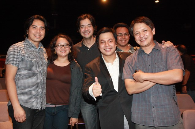 "The Dawn gives full support for Jett from left: bassist Buddy Zabala, Beth Pangan, guitarist Kenneth Ilagan, Jett Pangan and drummer Junboy Leonor. Repertory Phil.'s ""Jekyll & Hyde"". It ran until April 22, 2012 at On Stage Greenbelt. Photo by Jude Bautista"