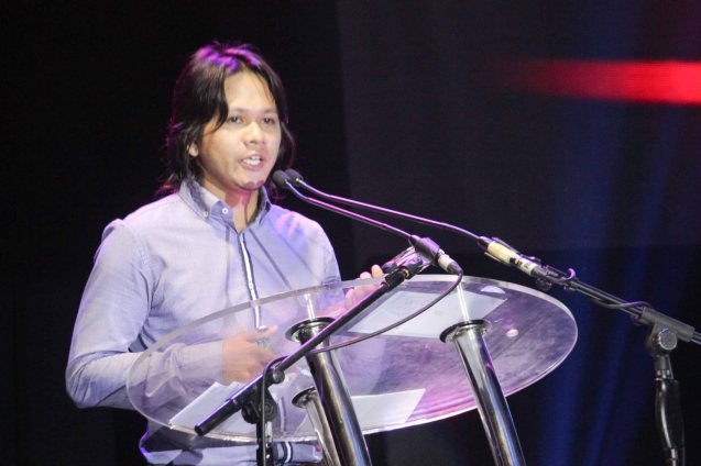 Filipino New Cinema Best Editing awardee Benjamin Tolentino AN KUBO SA KAWAYANAN. The World Premieres Film Festival Phil features 70 films from over 35 countries along with the Filipino New Cinema competition. It is currently the most prestigious international film fest in the Philippines. Photo by Jude Bautista