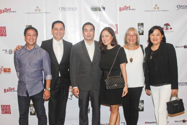 from right: Jingay Kaimo, Luna Griño-Inocian, Ana Sta Maria, Santi Sta Maria, Gawad Buhay Manging Dir Audie Gemora and Raul Montesa. The 7th PHILSTAGE GAWAD BUHAY AWARDS NIGHT was held at the CCP Little Theater last June 11, 2015. Photo by Jude Bautista