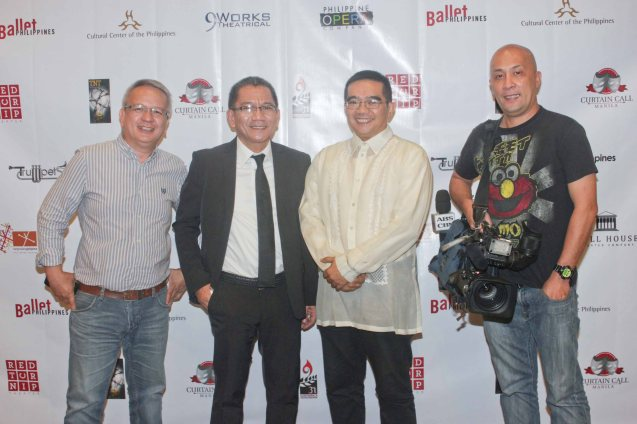 from right: TV Patrol cameraman Ricky Bautista, Actor/ Playwright/ director Dennis Marasigan, PR guru Toots Tolentino and Mario Dumawal. The 7th PHILSTAGE GAWAD BUHAY AWARDS NIGHT was held at the CCP Little Theater last June 11, 2015. Photo by Jude Bautista