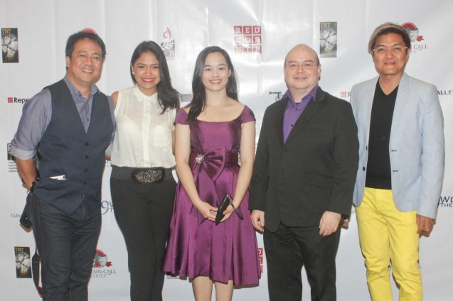 from right: KPNLL Musical Dir./composer Vincent De Jesus, Robbie Zialcita, Alessa Zialcita, Cara Barredo & Raul Montesa. The 7th PHILSTAGE GAWAD BUHAY AWARDS NIGHT was held at the CCP Little Theater last June 11, 2015. Photo by Jude Bautista