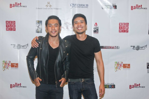 from left: Presenter Sandino Martin & Pepe Herrera- Outstanding Male Featured Performance in a Musical for PETA's RAK OF AEGIS. The 7th PHILSTAGE GAWAD BUHAY AWARDS NIGHT was held at the CCP Little Theater last June 11, 2015. Photo by Jude Bautista