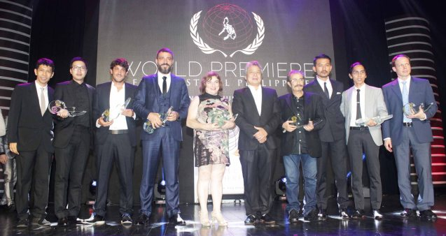 from left: Producer Handoko Hendroyono (FILOSOFI KOPI), Hsu Li Da (END OF LOVE), Remy Van Heugten (SON OF MINE), Burak Cem Arliel (CRIMEAN), Ana Murugarren (THREE LIES), FDCP Chairman Briccio Santos, Producer Joaquin Trincado (THREE LIES), Actor Rio Dewanto, Angga Dwimas Sasongko (FILOSOFI KOPI) & Russian Emb representative for Alexander Melnik (THE TERRITORY). The World Premieres Film Festival Phil features 70 films from over 35 countries along with the Filipino New Cinema competition. It is currently the most prestigious international film fest in the Philippines. Photo by Jude Bautista