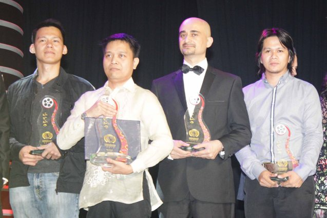from left: Bryan Dumaguina (ANG KWENTO NATING DALAWA), Alvin Yapan (AN KUBO SA KAWAYANAN), Ruben Maria Soriquez (OF SINNERS AND SAINTS) & Benjamin Tolentino editor (AN KUBO SA KAWAYANAN). The World Premieres Film Festival Phil features 70 films from over 35 countries along with the Filipino New Cinema competition. It is currently the most prestigious international film fest in the Philippines. Photo by Jude Bautista