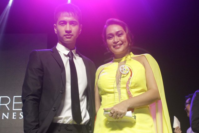 from right: Filipino New Cinema Best Actress Mercedes Cabral & Leading man RK Bagatsing. The World Premieres Film Festival Phil features 70 films from over 35 countries along with the Filipino New Cinema competition. It is currently the most prestigious international film fest in the Philippines. Photo by Jude Bautista