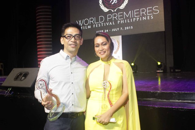 Filipino New Cinema Best Musical score- FILEMON MAMON Will Fredo & Best Actress Mercedes Cabral AN KUBO SA KAWAYANAN. The World Premieres Film Festival Phil features 70 films from over 35 countries along with the Filipino New Cinema competition. It is currently the most prestigious international film fest in the Philippines. Photo by Jude Bautista