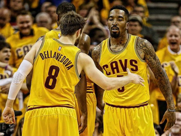 from left: Matthew Dellavedova & JR Smith need to score more for the Cavs to win the championship.
