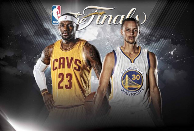 right: Current 2015 MVP Steph Curry faces 4-time MVP winner LeBron James in the Finals.