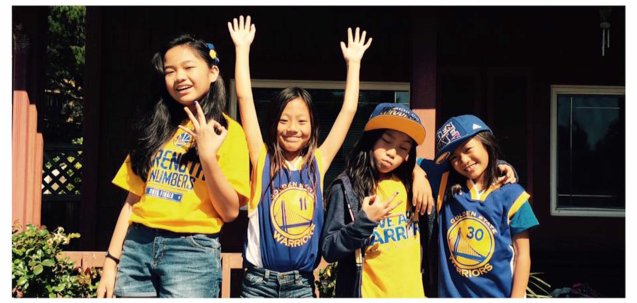 (left) The Warriors lucky charm Nayah Damasen cheer the Warriors with her cousins. Official Nayah Damasen fb fan page https://www.facebook.com/NayahDamasen/timeline on twitter https://twitter.com/nayahdamasen