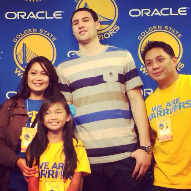 foreground: Nayah Damasen her folks and Klay Thompson. Official Nayah Damasen fb fan page https://www.facebook.com/NayahDamasen/timeline on twitter https://twitter.com/nayahdamasen