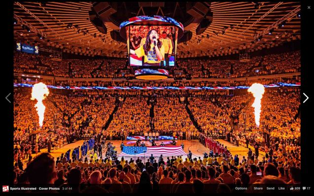 Nayah Damasen on giant screen while singing the Star Spangled Banner. Photo by Greg Nelson for Sports Illustrated. From SI fb page: https://www.facebook.com/SportsIllustrated/photos/a.10150607059961367.377609.14553116366/10152820772231367/?type=1&theater
