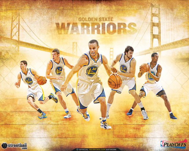 Golden State Warriors with the Oakland Bay Bridge on the left and the Golden Gate Bridge on the right signifying their home is in the whole Bay Area and not just either city.