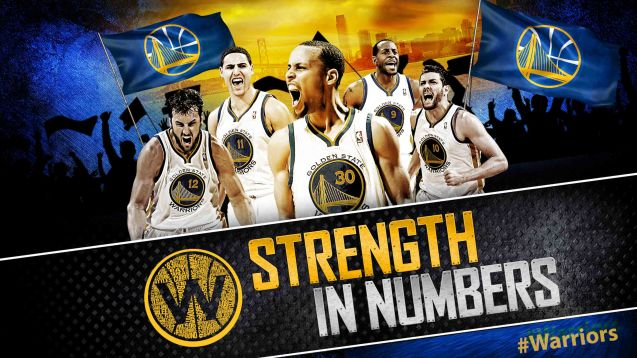 STRENGTH IN NUMBERS signifies the teamwork of the Golden State Warriors.