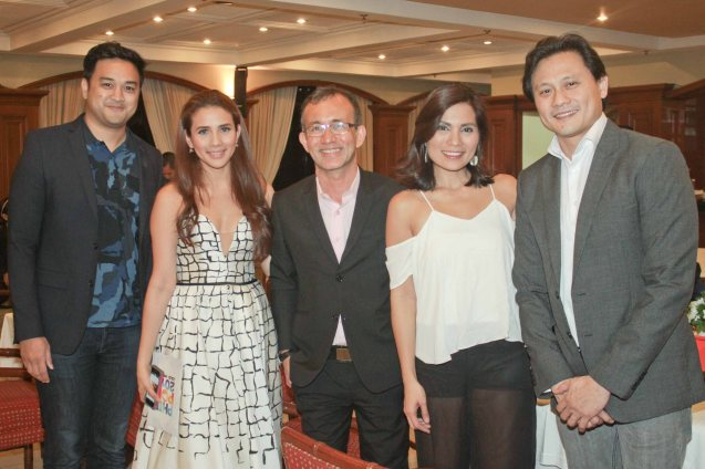 from left: TV5 Digital Marketing Head Bebong Muñoz, Karylle, TV5 Pres. Noel Lorenzana, Maynilad Head for Advocacy & Mktg Patricia B. Hizon and TV5 VP Atty Rod Nepomuceno. Photo taken at Lighthouse Restaurant, 14th flr MERALCO bldg. last July 25, 2015. Photo by Jude Bautista