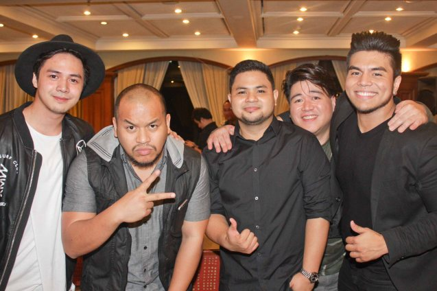 from left: Sam Concepcion, Quest, Davey Langit (PARATINGIN MO NA SIYA), Melvin Morallos (I OWE YOU MY HEART) & Jeric Medina. Sam & Quest were PhilPOP performers & finalists from previous years while the rest are part of this year's top 12. Photo taken at Lighthouse Restaurant, 14th flr MERALCO bldg. last July 25, 2015. Photo by Jude Bautista