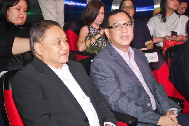 from left: PLDT & SMART Chairman Manny V Pangilinan  & Metro Pacific Investments Pres. & CEO Jose Ma. K. Lim. The PhilPOP 2015 Finals Night was held at the MERALCO THEATER last July 25, 2015. Photo by Jude Bautista