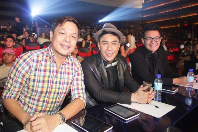 Panel of judges from left: Jett Pangan, Kris Lawrence & Paolo Valenciano. The PhilPOP 2015 Finals Night was held at the MERALCO THEATER last July 25, 2015. Photo by Jude Bautista