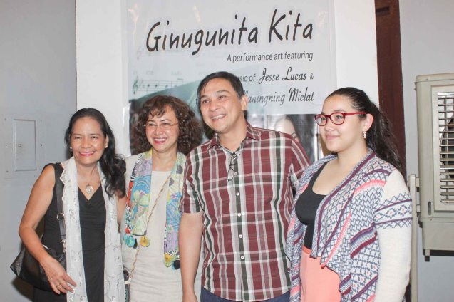 Buencaminos from right: Julia, Nonie, Shamaine and MANINGNING MICLAT FOUNDATION Exec Dir. Alma Cruz Miclat. GINUGUNITA KITA was a concert last May 20, 2015 where composer Jesse Lucas set the poetry of Maningning Miclat to music. Photo by Jude Bautista