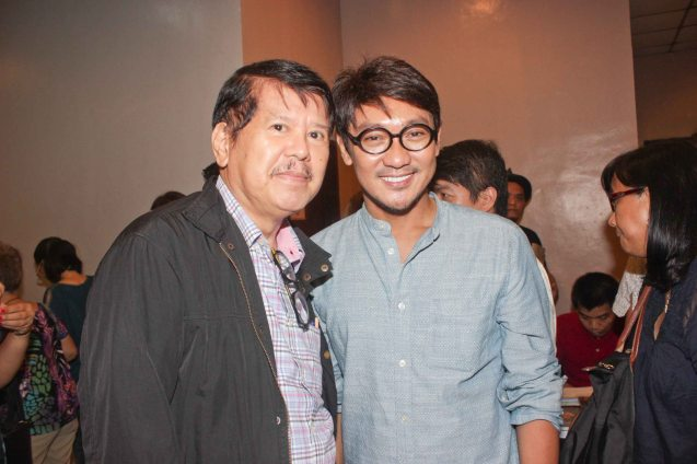 from left: Manunuri ng Pelikulang Pilipino member Mario Hernando and Concert Director Roeder Camañag. GINUGUNITA KITA was a concert last May 20, 2015 where composer Jesse Lucas set the poetry of Maningning Miclat to music. Photo by Jude Bautista