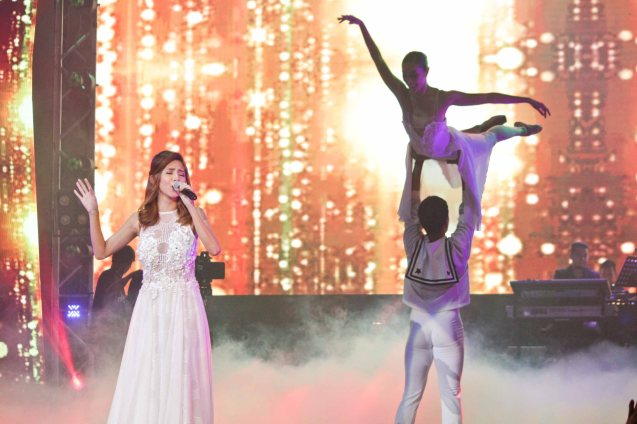 Anja Aguilar (I OWE YOU MY HEART) behind her are Phil Ballet Theater. The PhilPOP 2015 Finals Night was held at the MERALCO THEATER last July 25, 2015. Photo by Jude Bautista