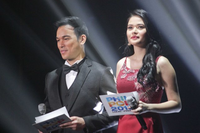 Bituing Walang NIngning's Mark Bautista and Bella Padilla were the hosts of the night. The PhilPOP 2015 Finals Night was held at the MERALCO THEATER last July 25, 2015. Photo by Jude Bautista