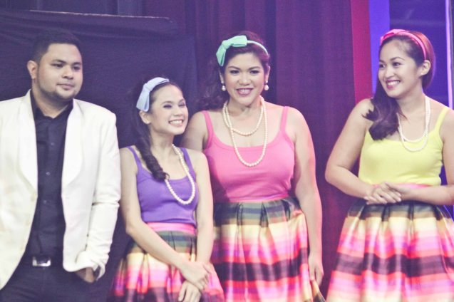 Davey Langit (PARATINGIN MO NA SIYA) with his impressive back up singers BAIHANA. The PhilPOP 2015 Finals Night was held at the MERALCO THEATER last July 25, 2015. Photo by Jude Bautista
