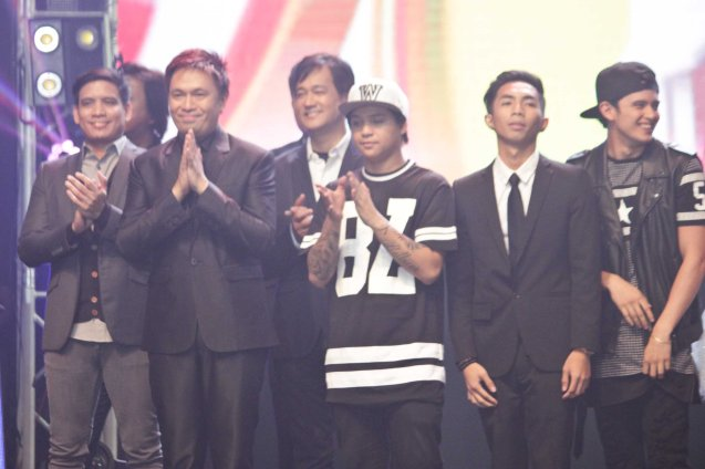 from left: SIDE A lead vocals Leevon Cailao, Ned Esguerra (FOR THE REST OF MY LIFE), drummer Ernie Severino, rapper Pio, MC Magno (MUSIKAW) and James Reid. The PhilPOP 2015 Finals Night was held at the MERALCO THEATER last July 25, 2015. Photo by Jude Bautista
